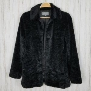 Ann Taylor Black Faux Fur Coat
